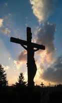 26 foot high crucifix, Rosa Mystica, Outdoor crucifix grotto